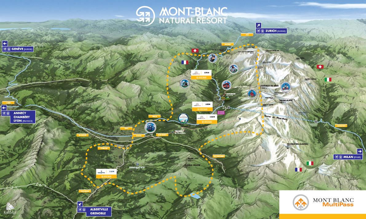 Mont Blanc France Map.Mont Blanc Multipass Chamonix