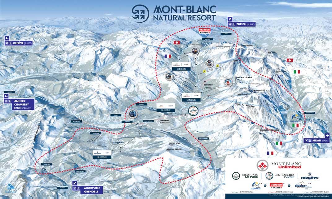 Mont Blanc France Map.Mont Blanc Ski Mont Blanc Unlimited Pass Megeve Piste Map St