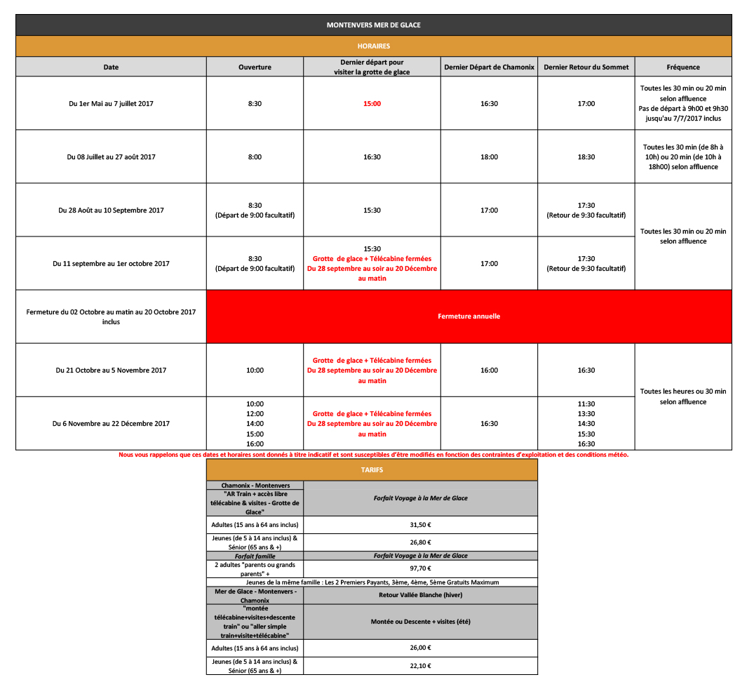 Timetable and rates